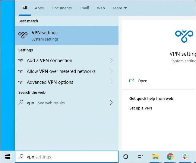 البحث في قائمة ابدأ في Windows 10 عن إعدادات VPN