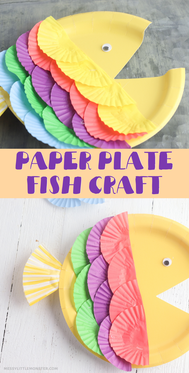 Rainbow fish craft for kids. A fun and easy paper plate craft.