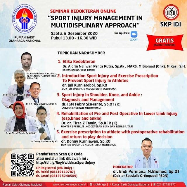 """Seminar Kedokteran Online """"Sport Injury Management in Multidisplinary Approach"""""""