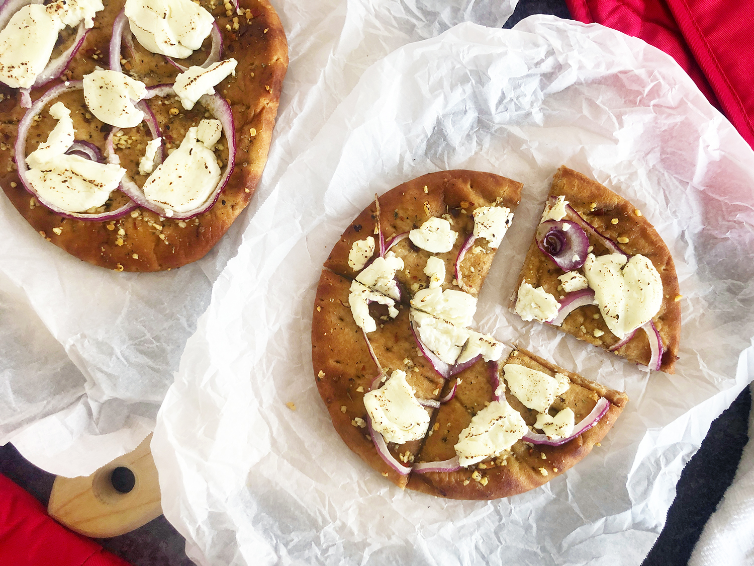 Goat Cheese & Red Onion Mini Pizzas