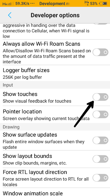 Show Touches Android Application