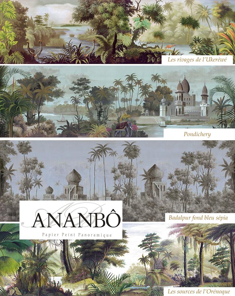 Ananbô Papier peint Jarawa - Noir & Blanc www.ananbo.com ...