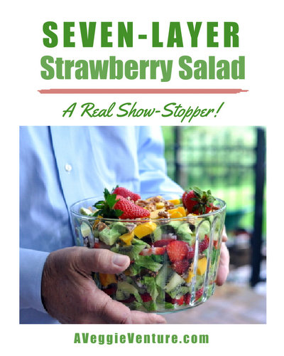 Seven-Layer Strawberry Salad with Homemade Poppy Seed Dressing, another show-stopping salad ♥ AVeggieVenture.com, a strawberry riff on the classic seven-layer salad.