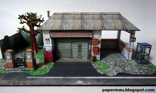 Papermau the generic garage paper model by papermau for Toy garage plans free download