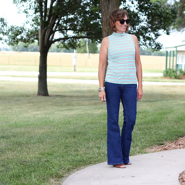 NIkko Top made from a rib jersey from Style Maker Fabrics and worn with Birkin Flares