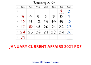 January Month Current Affairs 2021 (National+International)