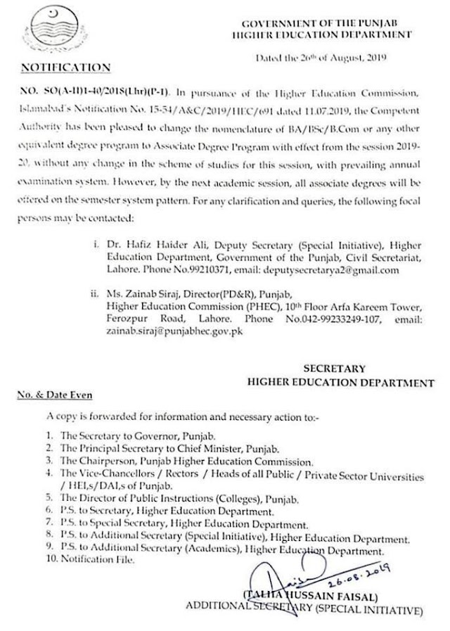 CHANGE OF NOMENCLATURE OF BA /BSC/BCOM OR ANY OTHER EQUIVALENT DEGREE PROGRAM BY HEC