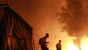 Lesbos migrant camp blaze