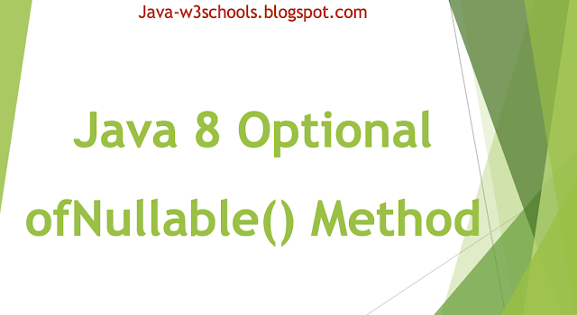 Java 8 Optional ofNullable() Method Example