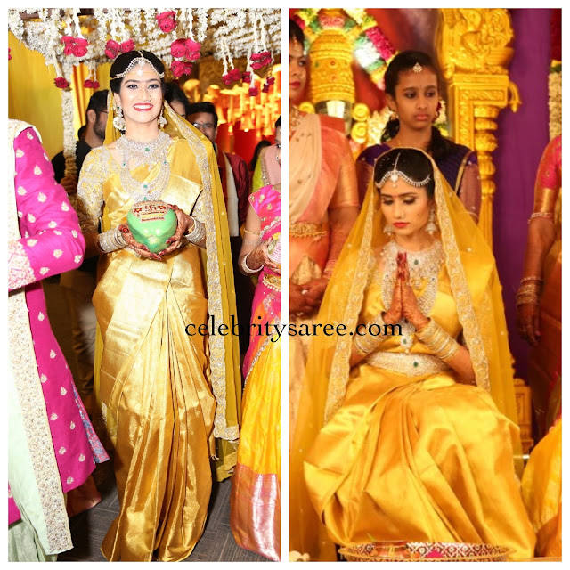 Bride in Big Border Silk Saree