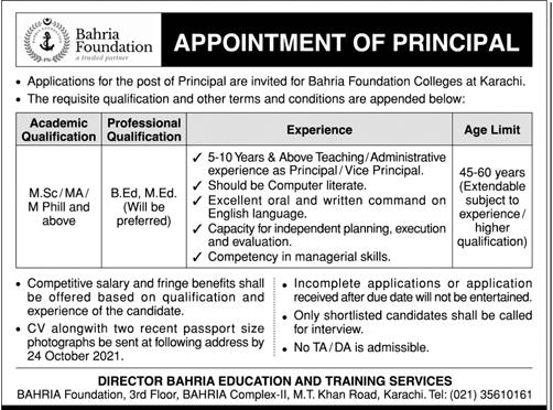 Bahria Foundation College Karachi Jobs 2021 in Pakistan