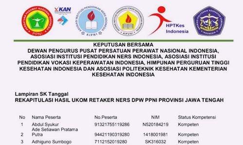 Hasil Pengumuman Uji Kompetensi Nasional Retaker D3 Keprawatan, D4 Keperawatan dan Ners Terbaru - www.herusetianto.com