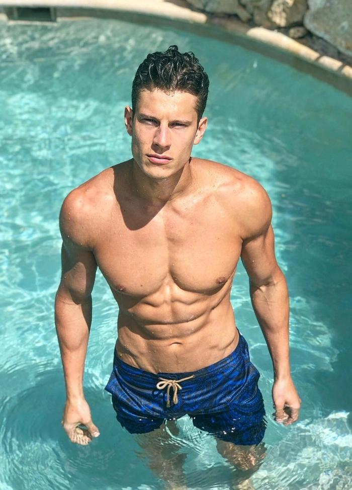 hot-guy-shirtless-fit-sexy-wet-body-pool-bro-jawline-male-model