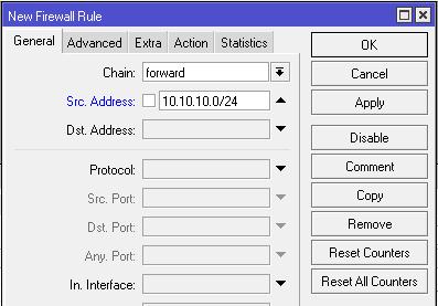 Gambar Tab Menu General pada Firewall Filter Mikrotik.