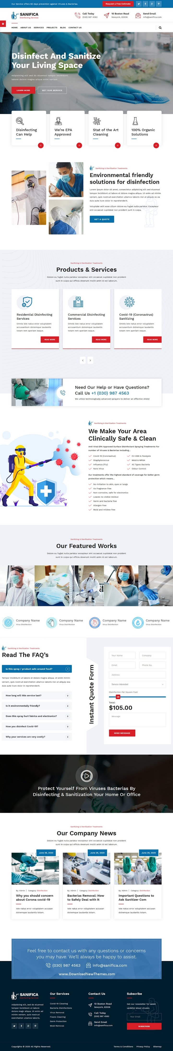 Sanitizing and Disinfection Services HTML Template