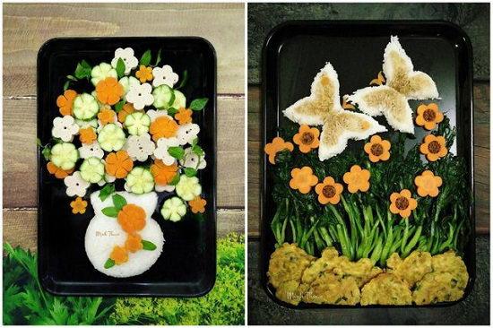 Những đĩa rau luộc đẹp như tranh của bà nội trợ Việt