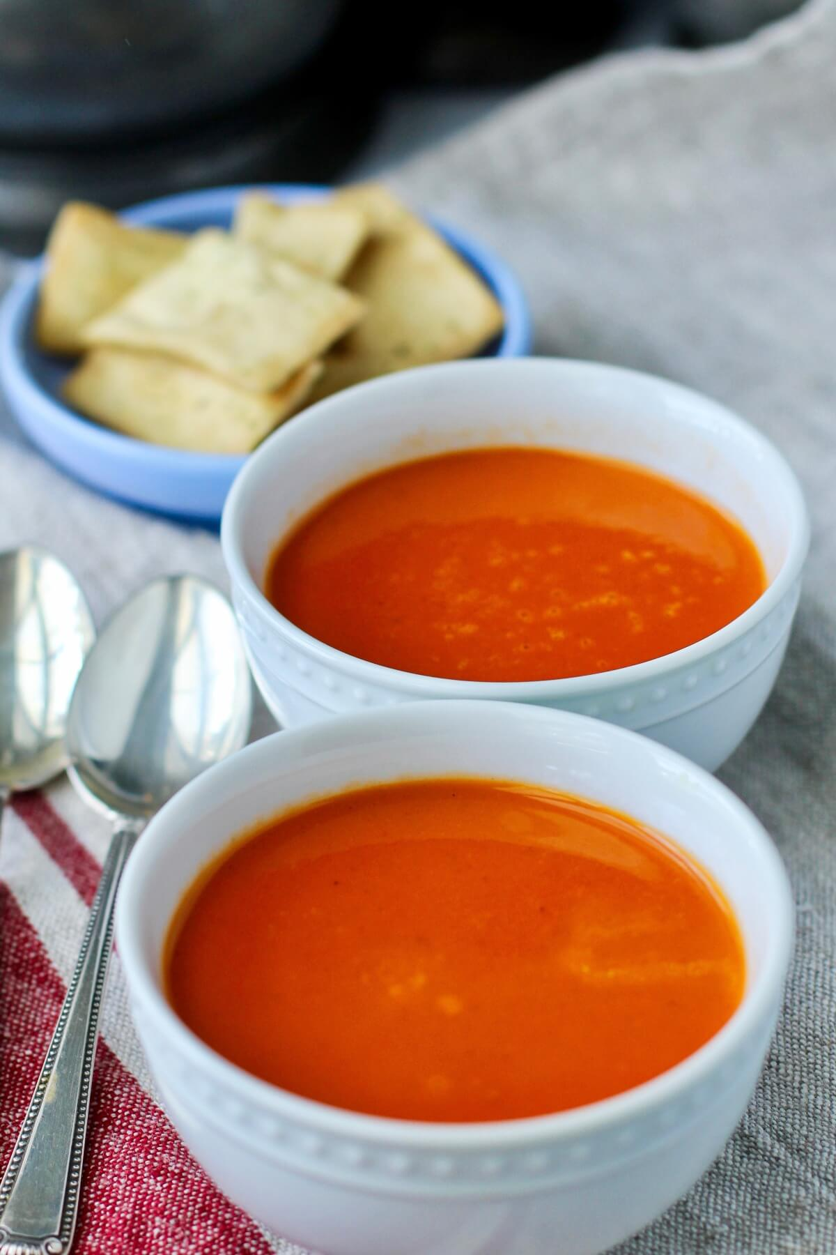 Roasted Tomato and Pepper Soup with pita chips