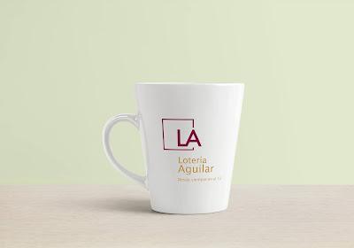 Ejemplo de aplicación del nuevo logotipo de Lotería Aguilar sobre materiales promocionales.