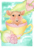 Whimsical  Rose Mouse Teacup Watercolor Painting Illustration