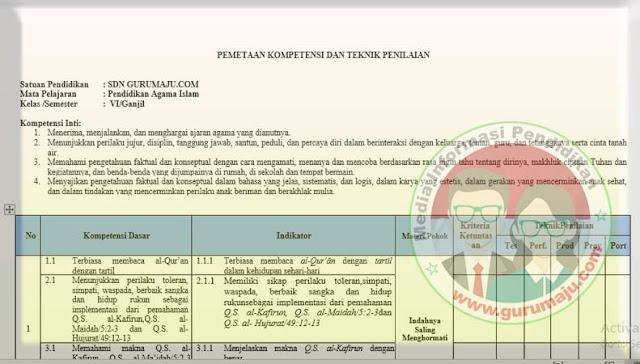 Pemetaan KD PAI Kelas 6 Kurikulum 2013 Revisi 2021 Semester 1