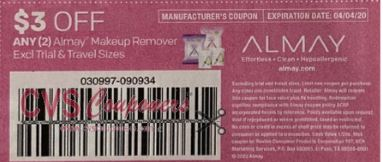 "$3.00/2 Almay Makeup Remover Coupon from ""SMARTSOURCE"" insert week of 3/8/20."