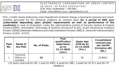 Electronics Corporation Of India Recruitment 2021