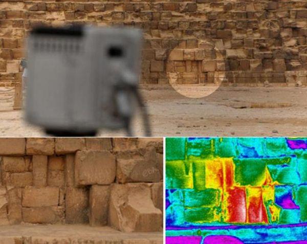 Se observaron en todos los monumentos diversas anomalías térmicas, pero una de ellas, especialmente llamativa, se detectó a nivel del suelo en la cara este de la Gran Pirámide, también conocida como Pirámide de Khufu o Keops.