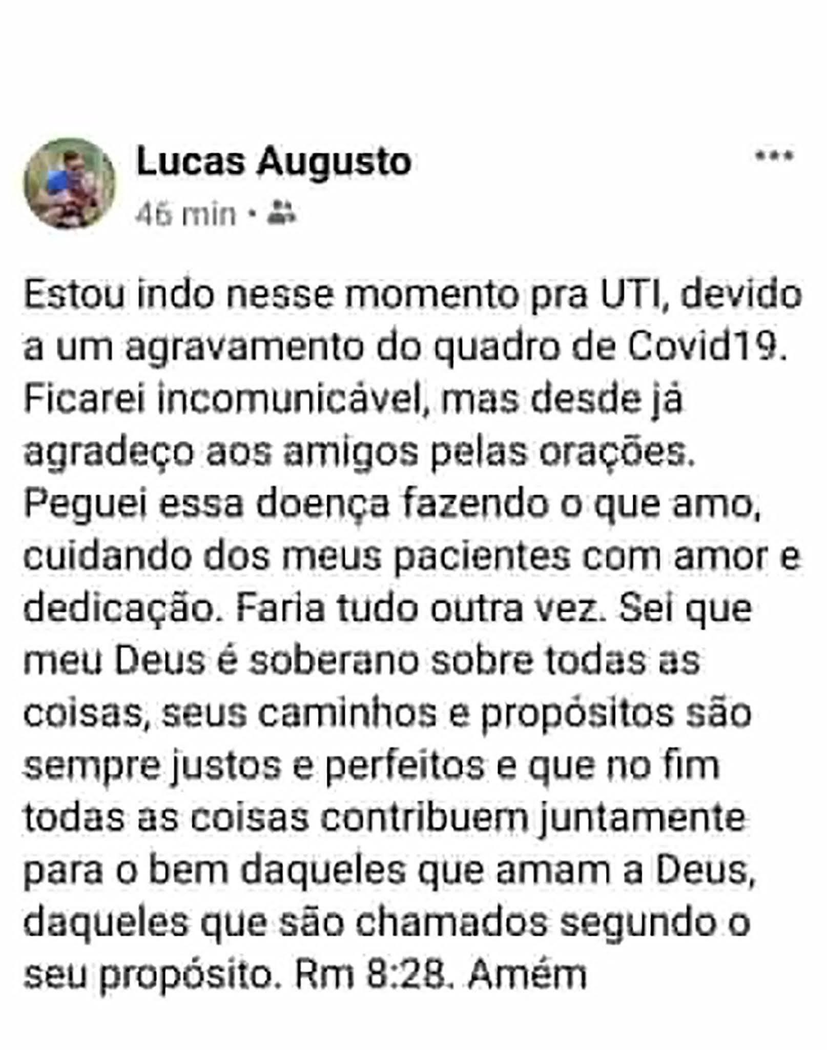 La carta de Lucas Augusto Pires