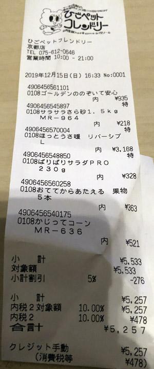 ひごペットフレンドリー 京都店 2019/12/15 のレシート