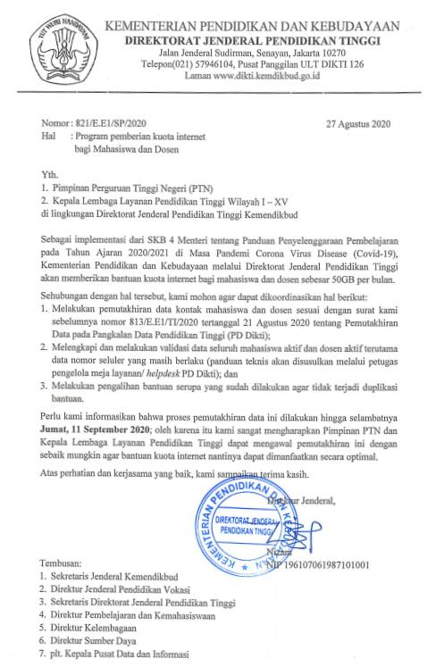 Surat Dirjen Dikti Kemdikbud Tentang Program Pemberian Kuota Internet Bagi Mahasiswa dan Dosen