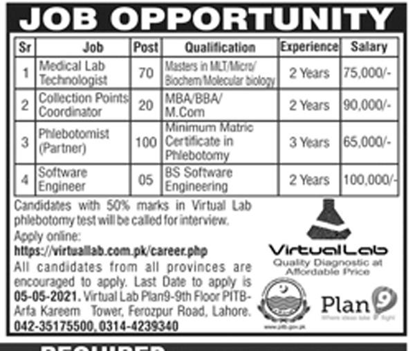 Virtual Lab Lahore Jobs 2021 – Apply Online
