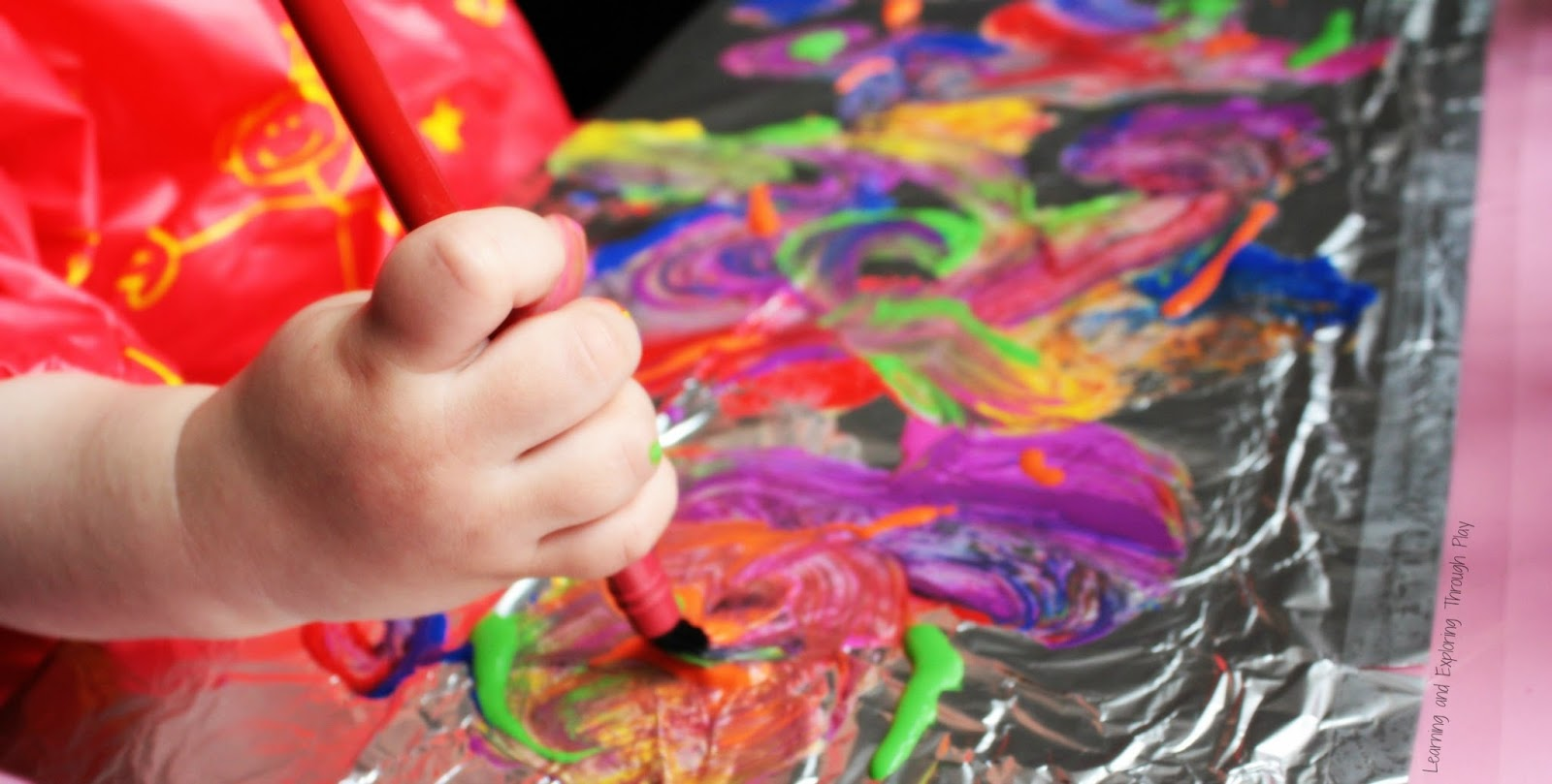 Learning and Exploring Through Play: Easy Art for Kids Painting on Foil