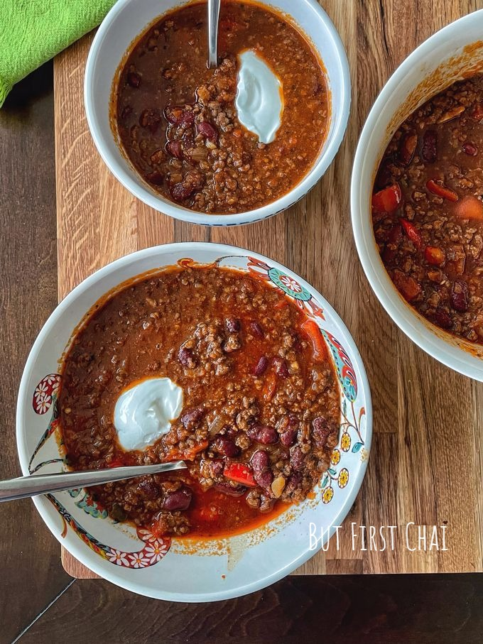 Beef Chili Con Carne served with dollop of labneh