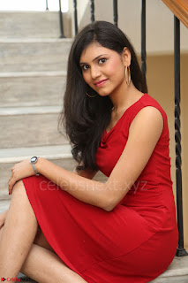 Mounika Telugu Actress in Red Sleeveless Dress Black Boots Spicy Pics 060.JPG