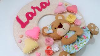 enfeite de porta ursinha rosa