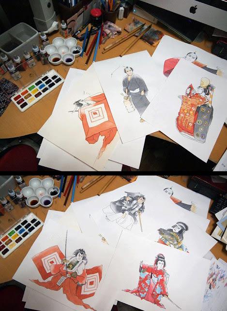 歌舞伎イラスト,歌舞伎、伝統、芸能、日本、和、舞台、時代劇、入門書、画法、影、、着物、水彩、透明水彩、手描き、挿絵、イラスト、絵、資料,イラストレーター検索、イラストレーター一覧、イラスト制作、和風イラスト