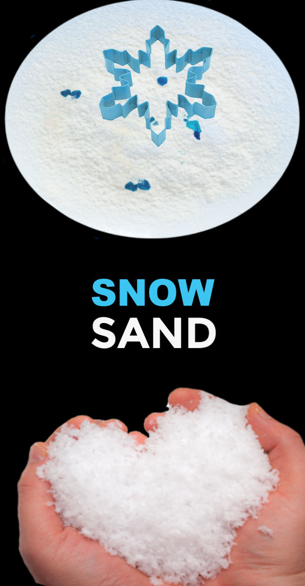 FUN KID PROJECT: Make snow sand! (icy-cold sand for winter play) #snowsensorybin #snowsand #snowrecipesforkids #snowrecipes #snowplay #snowplayrecipe #makesnowforkids #makesnow #indoorsnow