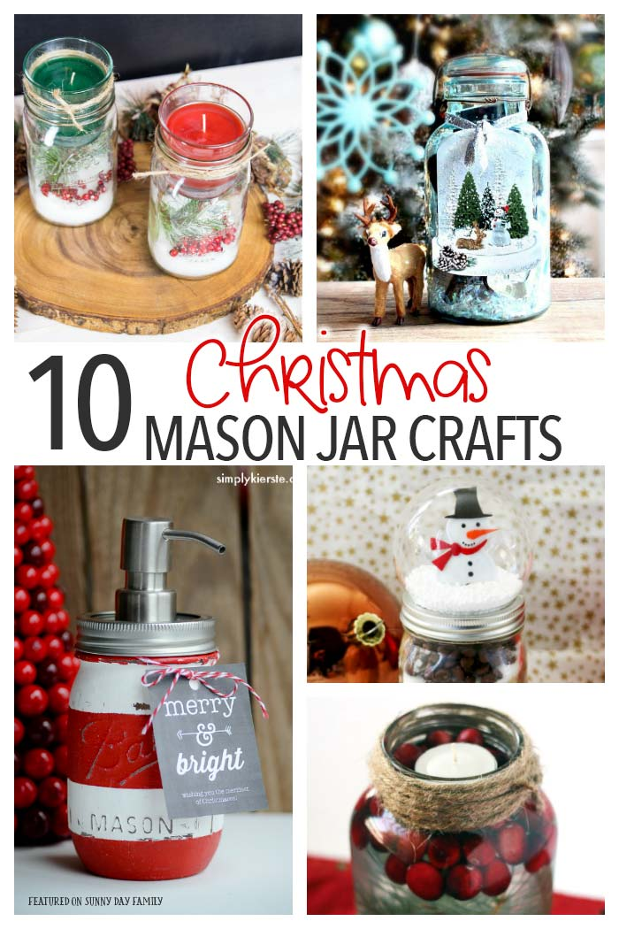 10 amazing Christmas Mason jar crafts! Perfect DIY holiday decorations or they make awesome homemade Mason jar gifts as well. Beautiful ideas and so festive!
