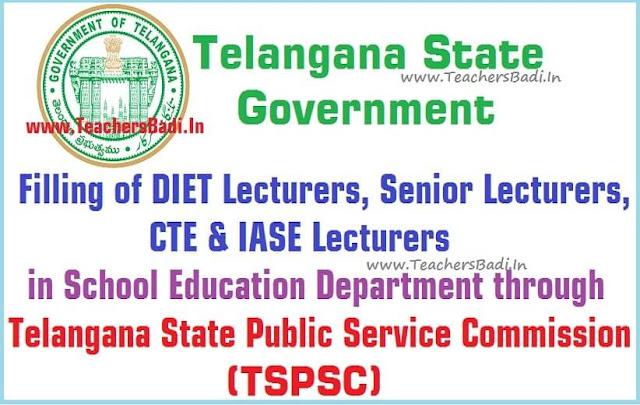 TSPSC,DIET Lecturers,CTE IASE Lecturers Recruitment GO.72