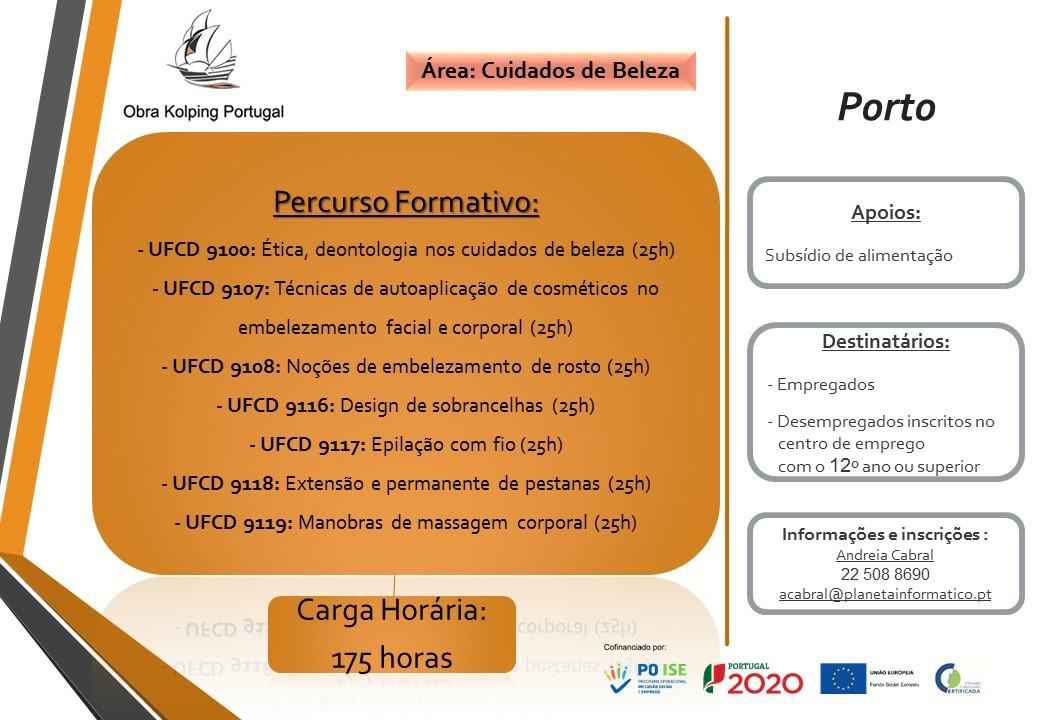 Formação financiada / gratuita na área de Cuidados de Beleza – Porto