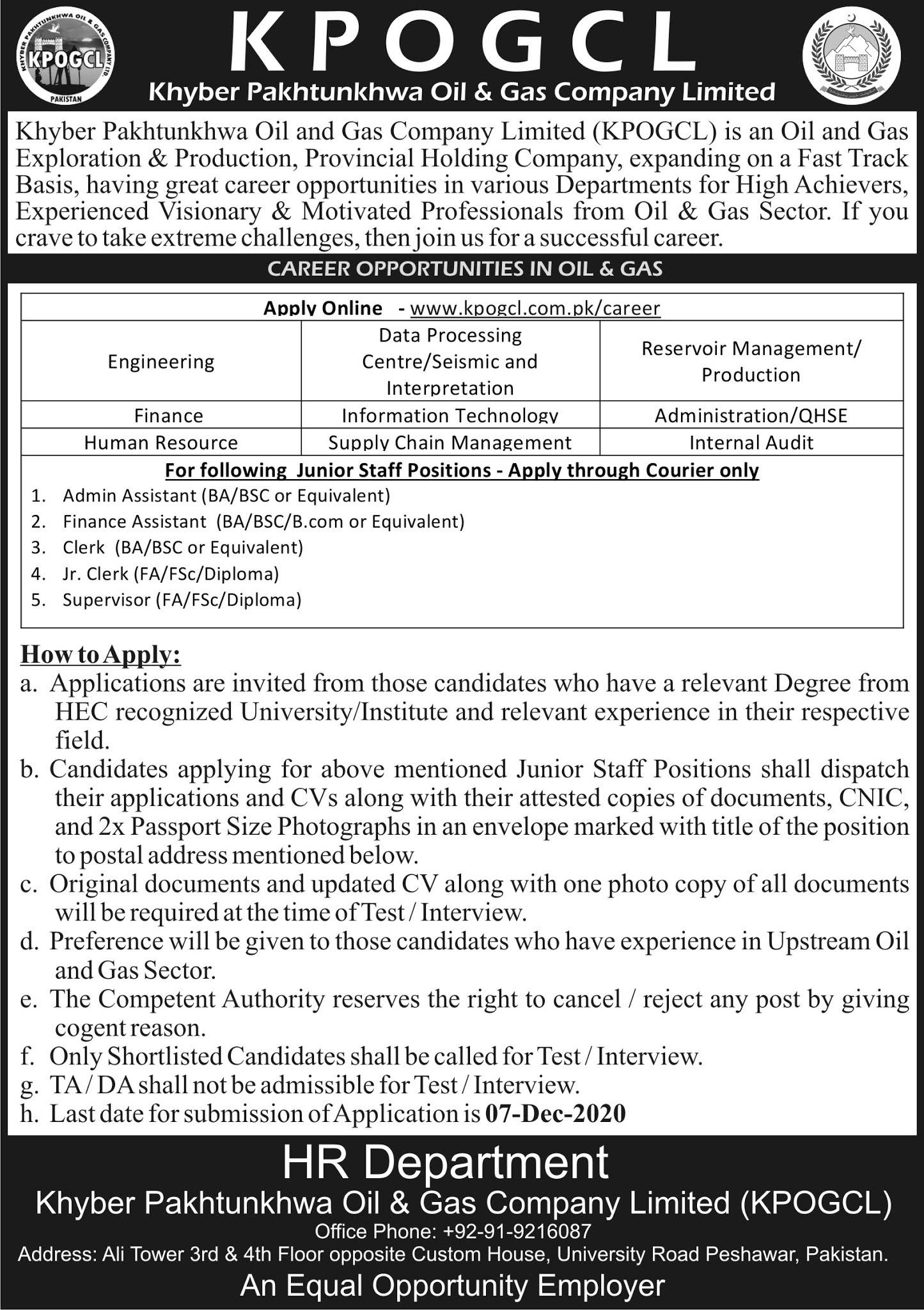 KPOGCL Jobs 2020   KPK Oil and Gas Company Ltd – Apply Now