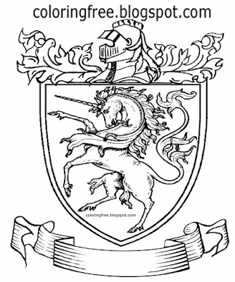 Kids dark ages mythical England battle coat arms royal medieval coloring pages unicorn drawing ideas