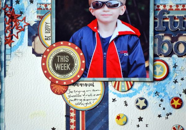 Mixed Media Layout by Denise van Deventer using BoBunny Firecracker and Pearlescents and Washi Tape