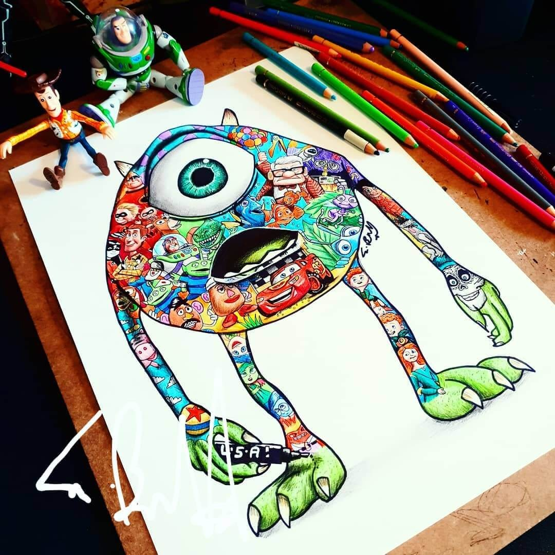 11-Mike-Wazowski-Monsters-Inc-S-Brunell-Movie-Drawings-within-Drawings-www-designstack-co