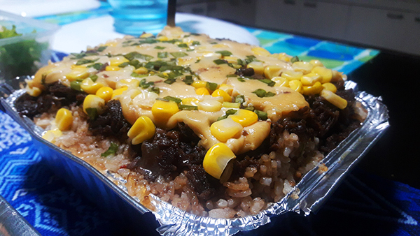 Cheesy Baked Garlic and Pepper Beef with Gyudon rice