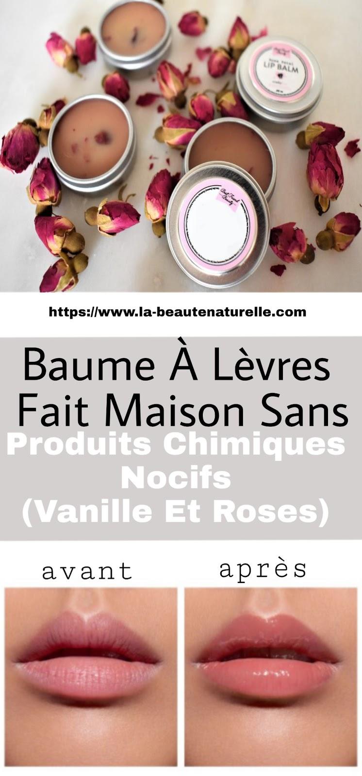 Baume À Lèvres Fait Maison Sans Produits Chimiques Nocifs (Vanille Et Roses)