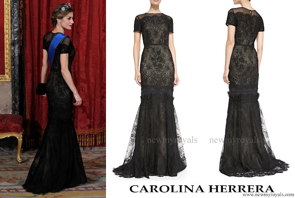 Queen Letizia wore Carolina Herrera Short Sleeve Tiered Lace Evening Gown.