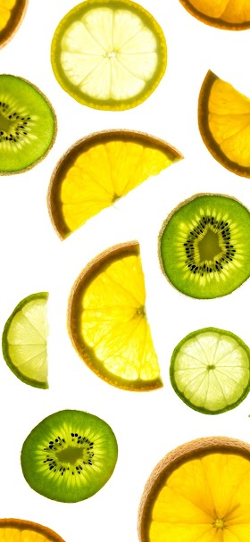 Orange lemon kiwi fruits wallpaper