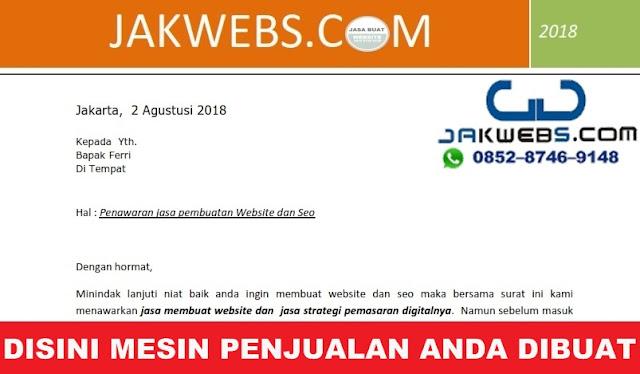 CONTOH SURAT PENAWARAN HARGA JASA WEBSITE