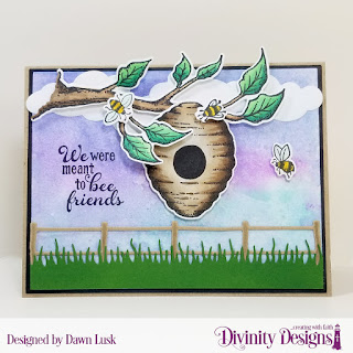 Stamp/Die Duos: Bee-Lieve Custom Dies: A2 Landscape Card Base with Layer, Matting Rectangle, Grass Lawn, Farm Fence, Clouds & Raindrops